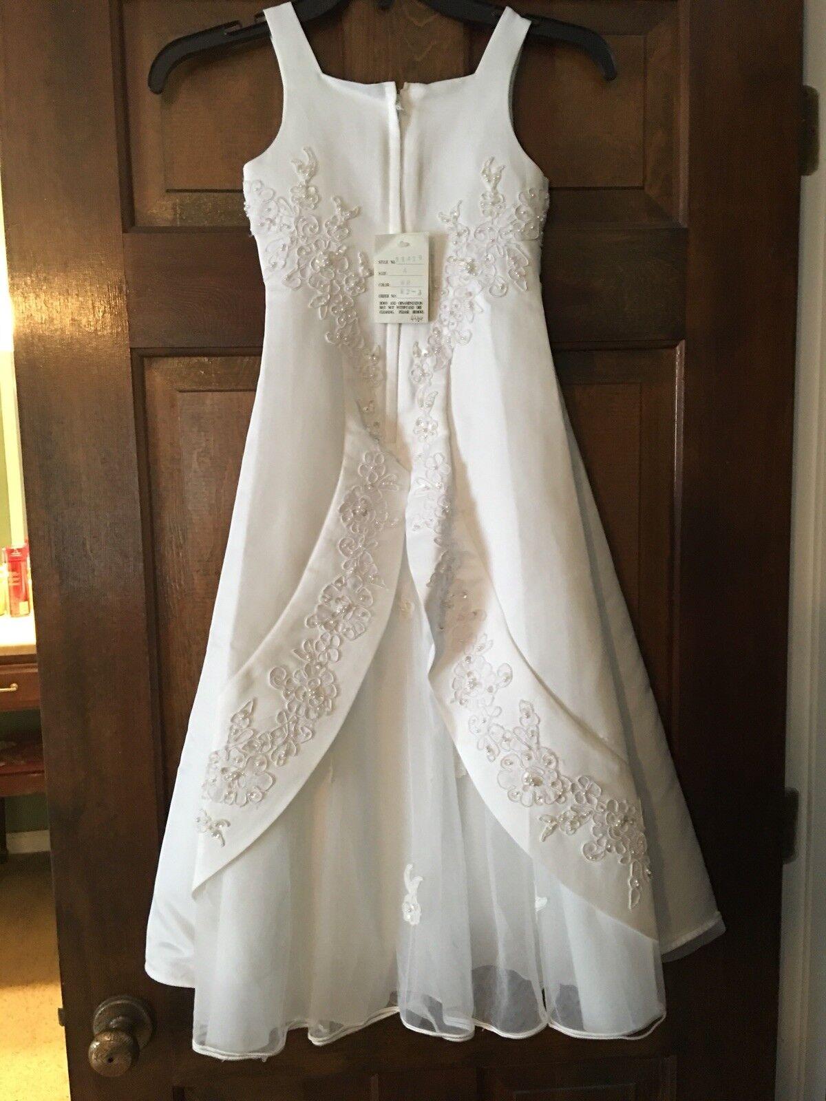 Flower Girl/Communion Mon Cheri Bridals dress Girls 4- Beaded/lace/satin Wedding