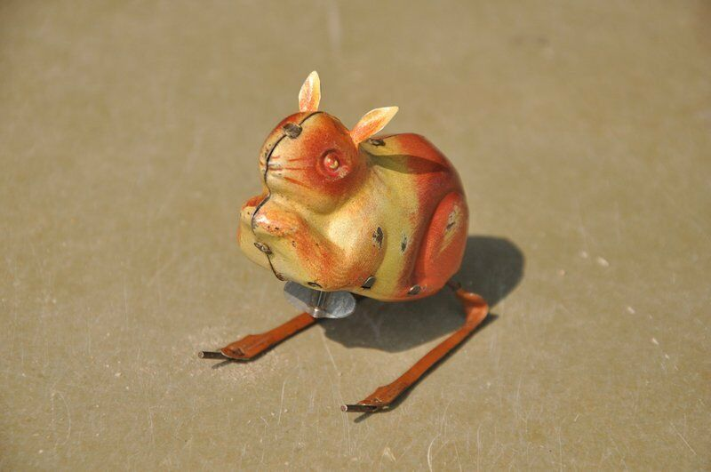 Vintage Wind Up C.K Trademark Litho Rabbit Tin Toy , Japan