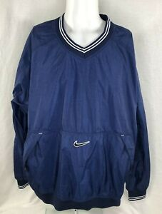 Details about Vintage Nike XL Nylon V Neck Pullover Windbreaker Jacket White Tag Navy Blue