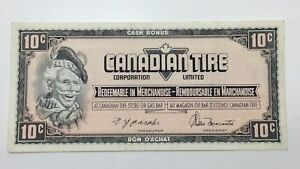 1974-Canadian-Tire-10-Ten-Cents-CTC-S4-C-CM-Circulated-Money-Banknote-E147
