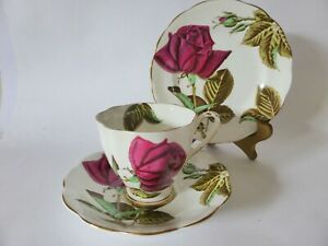 Vintage-Royal-Standard-034-English-Rose-034-Hand-Finished-Bone-China-Tea-Cup-Trio-Set