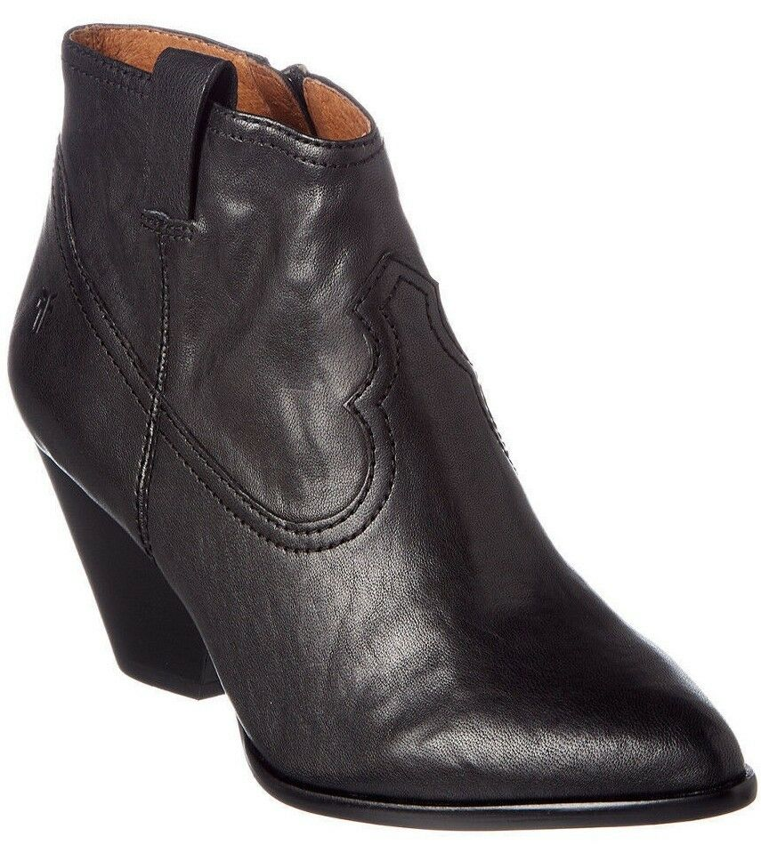 Frye Women's Reina Black Leather Western Ankle Bootie 3479257-BLK NIB