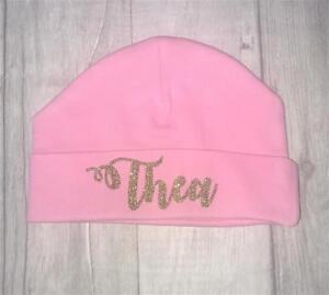 NEWBORN-PRINCESS-PERSONALISED-BEANIE-Gold-Glitter-Name-Pink-Hat-Cute-Gift