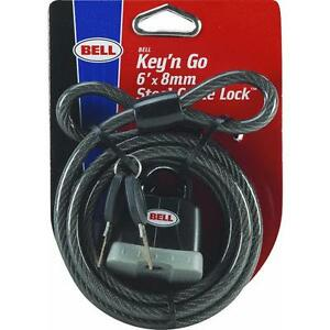 6 39 key n go bike cable lock bell sports 1006428 stores under seat 2 keys 5 pk ebay. Black Bedroom Furniture Sets. Home Design Ideas