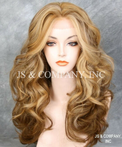 Blonde Mix HEAT SAFE Lace Front wig Big Open Curls Wavy layered NOM 2216
