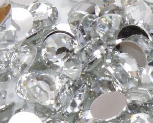 Clear Crystal Flat Back Nail Art Rhinestones Gems 2MM-6MM Glitter Beads