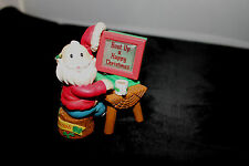 Vintage Santa Sitting at Computer Boot up a Happy Christmas Plastic figurine