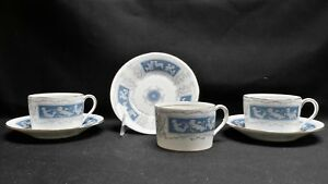 Coalport-England-Bone-China-Revelry-Blue-Set-of-3-Flat-Cups-amp-Saucers