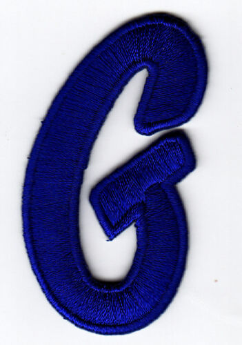 """Iron On Embroidered Applique Letters Royal Blue Script  2/"""" Letter /""""G/"""""""