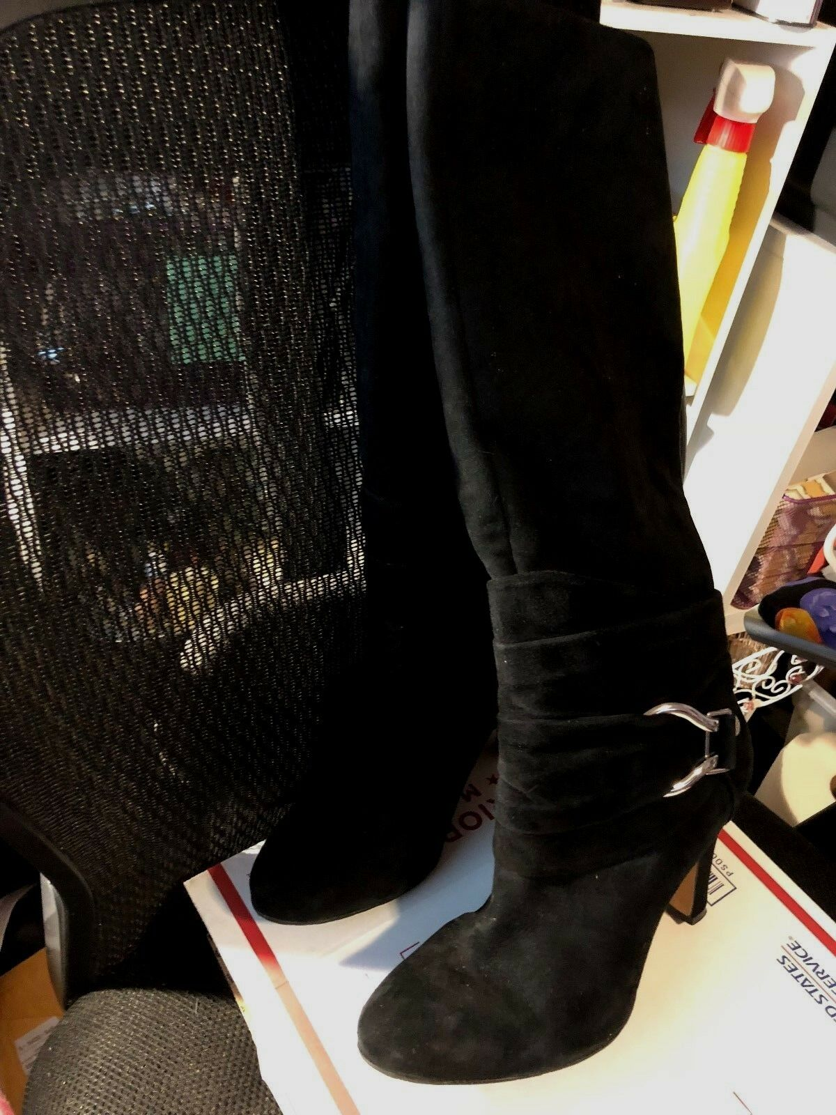 Boots, ANTONIO MELANI, black suede with silver hardware, hardware, hardware, 4  heel, SZ  8 1 2M 063c2d