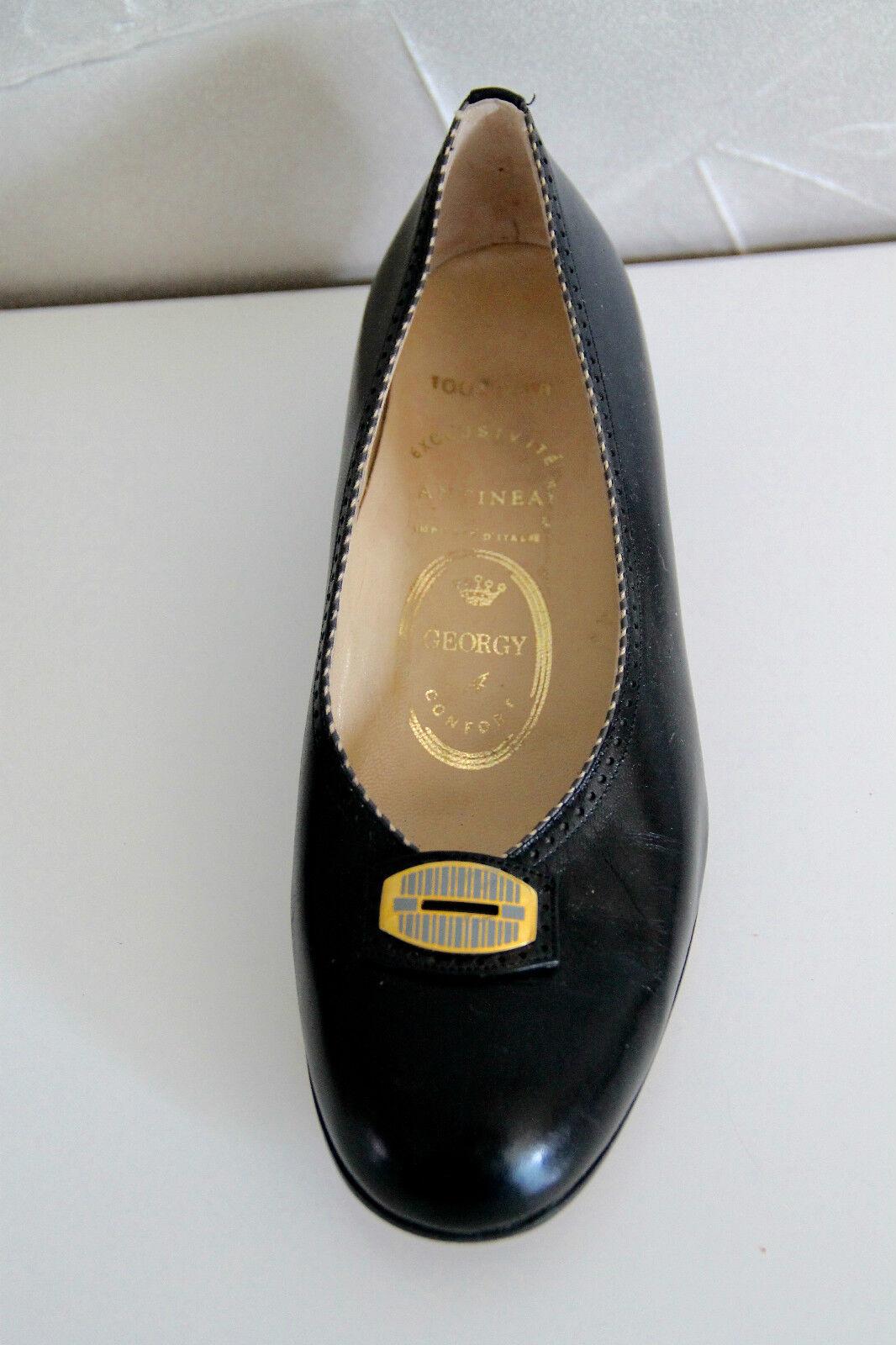 carini scarpe di pelle nero piccoli tacchi ANTINEA taglia 36 1/2