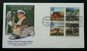 [SJ] USA Classic Mail Transportation 1989 Airplane Ship Car Vehicle Postal (FDC)