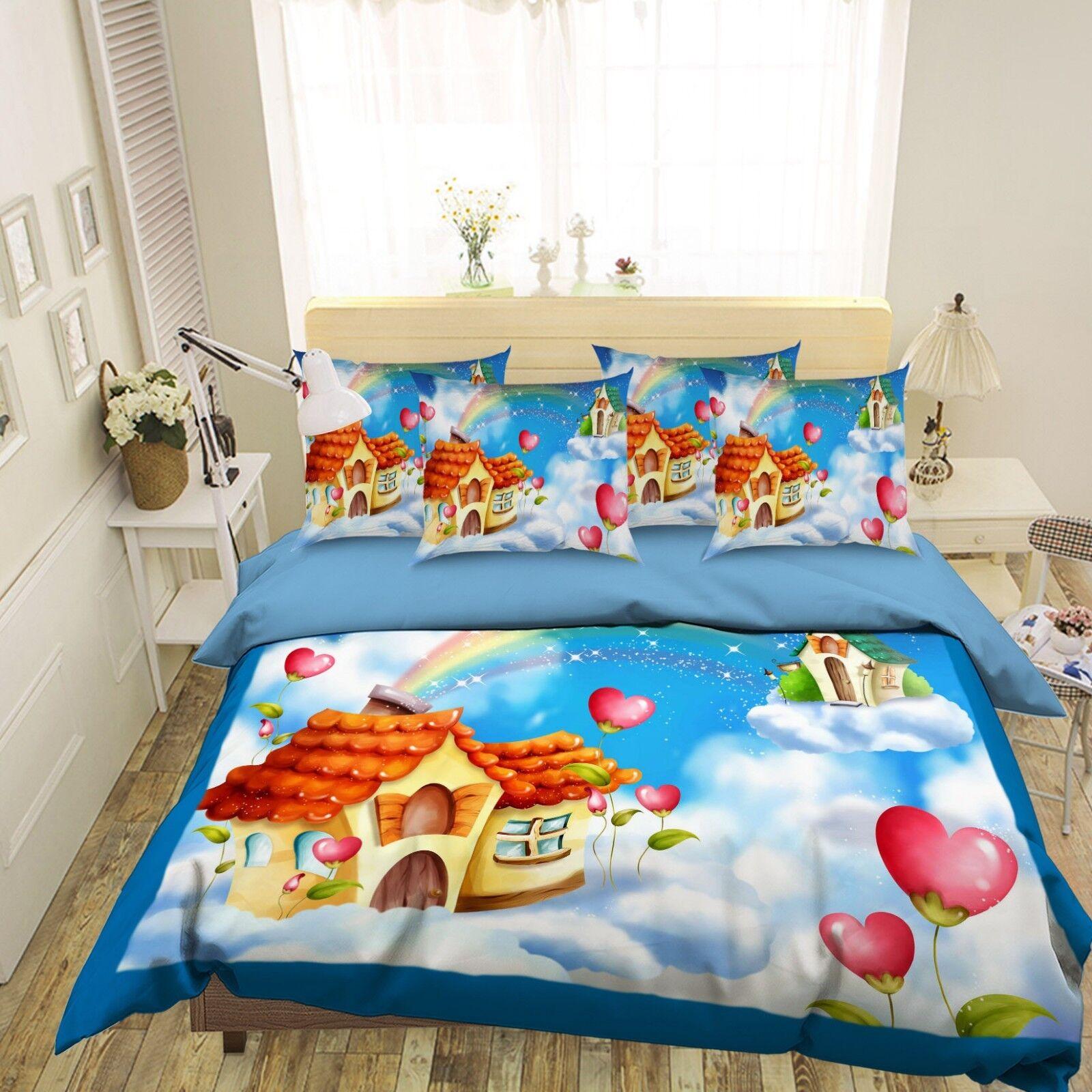 3D Clouds Houses 686 Bed Pillowcases Quilt Duvet Cover Set Single King UK Summer