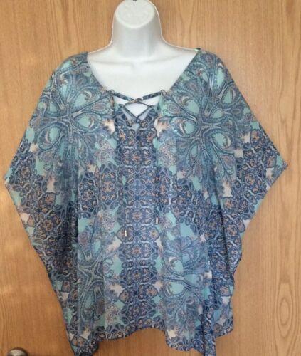 Wallis Blue Paisley Print Summer Kaftan Kimono Blouse Top Med 14//16 Lace Front