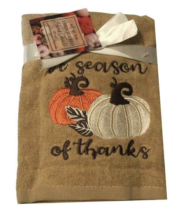 Thanksgiving Pumpkins Thanks Hand Towels Embroidered Bathroom Set of 2 Beige