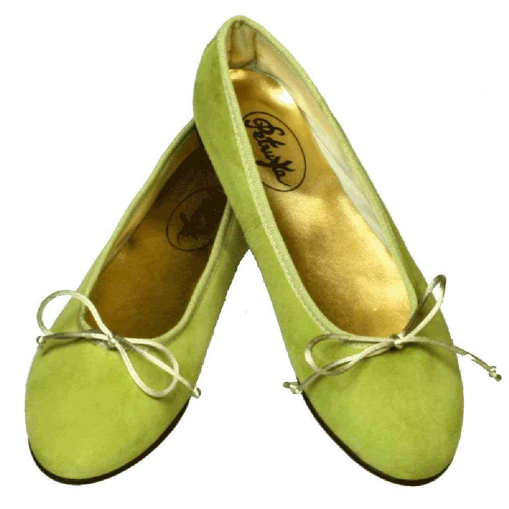 Ballerinas aus Wild-Leder in Kiwi-Gruen  Ballerina Schuhe Manaus in grün