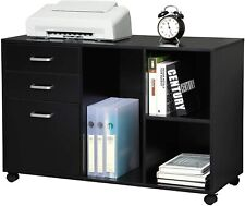 Office Wood File Cabinet 3 Drawer Shelf Storage Home Office Organizer Black