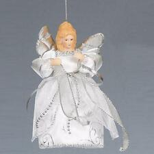 "Christmas 6"" Tree Top / Hanging Angel Decoration - White / Silver"