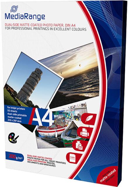 50 Mediarange Fotopapier 200g matt beidseitig für Tintenstrahl Drucker DIN A4
