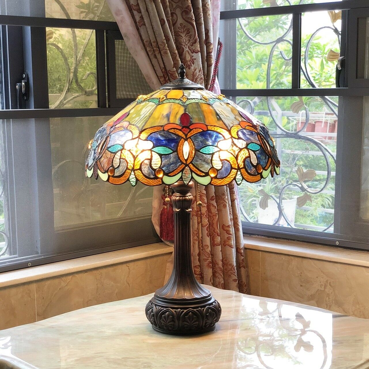 Tiffany Style Victorian Stained Glass Table Lamp 2 Bulb Antique Dark Bronze Base For Sale Online