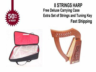 real Wood Celtic Harp 19 string Irish Style with Bag /& Extra strings /& key included
