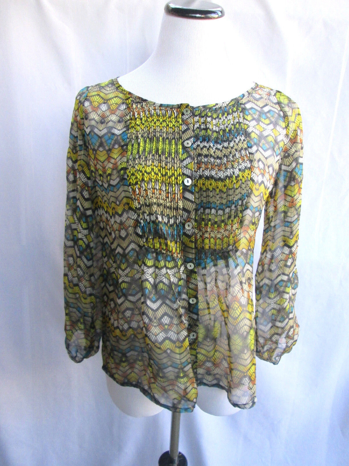 Anthropologie graulin Blouse Silk Multi Farbe Abstract Geometric Button Down M