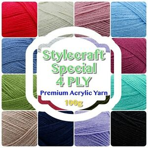 Stylecraft-SPECIAL-4-PLY-Premium-Acrylic-Knitting-Crochet-Yarn-Wool-100g-Ball