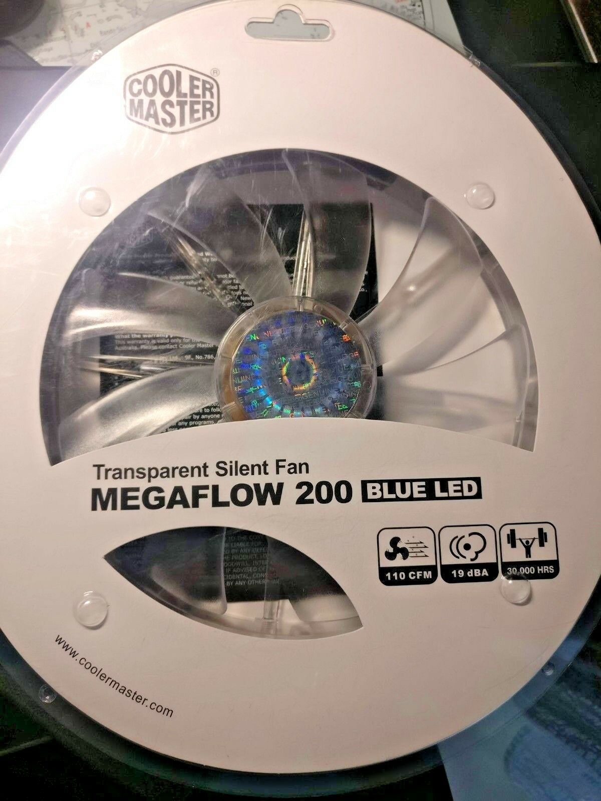 Cooler Master MegaFlow 200 Blue LED PC Case Cooling Fan 700 RPM 200mm