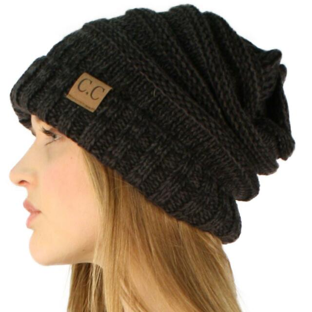 16bfc8a2a85 Unisex Oversized Chunky Soft Stretch Knit Slouchy Beanie Skull Hat Cap Mix  Black