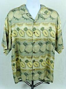 TOMMY-BAHAMA-Hawaiian-Pineapple-Aloha-Floral-Camp-Shirt-Size-L-Large-100-Silk