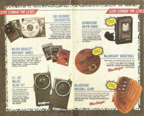1990 Gi Joe Combat payer get tough catalogue Insert marchandise offre Cobra JTC P890