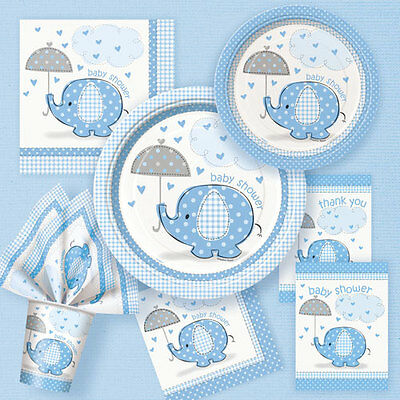 Baby Boy UMBRELLAPHANTS- Blue Baby Shower Party Supplies Tableware Decorations