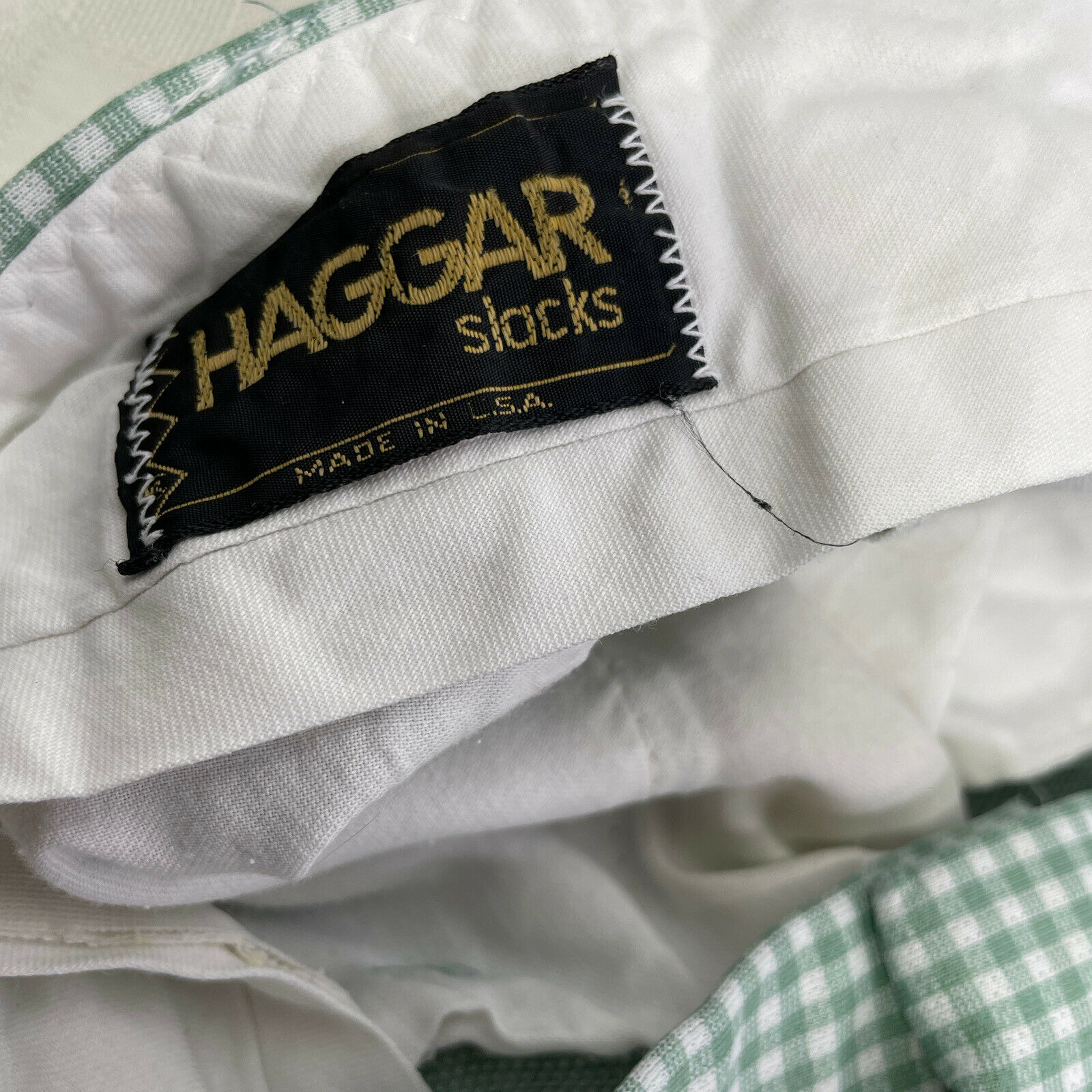 Haggar Green Plaid Check Leisure Golf Pants Vinta… - image 8