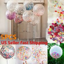 5pcs 36 Inch Clear Latex Confetti Balloons Wedding Birthday Party Decoration US