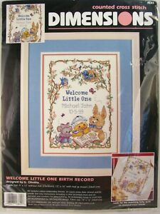 Vintage-Dimensions-Counted-Cross-Stitch-Kit-Welcome-Little-One-3845-Birth-Record