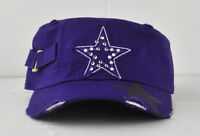 Pit Bull Cadet Military Style Hat Cap W/ Star And Rhinestones And Buckled Design