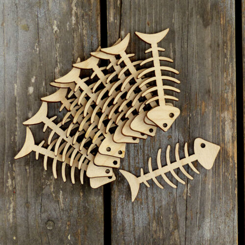 10x Wooden Fish Bones Comic Craft Shape 3mm Ply Sea Fishing Cat Food Skeleton