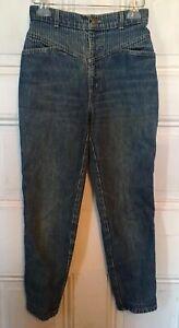 Vintage-80s-Sunset-Blues-Chic-Blue-Denim-Stripe-High-Waist-Jeans-Short-EUC