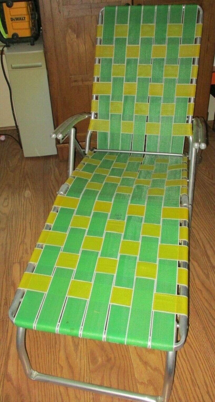 De colección con membranas de aluminio plegable silla con apoya pies verde Amarillo Correas Usado En Excelente Condición
