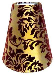 Lampenschirm-Tischleuchte-Stehlampe-Bordeaux-Gold-Blumenmuster-Stoff-E14