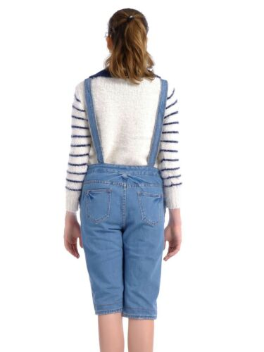 Fashion Women Casual Blue Farm Life Pocketed Short Pant Sleeves Denim Overalls