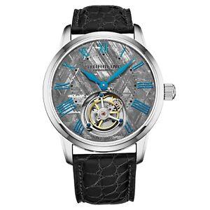 Stuhrling-Hand-wind-40mm-Tourbillon-Meteorite-Dial-Alligator-Leather-Men-039-s-Watch
