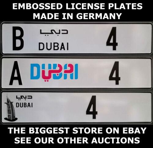 Dubai Arab Arabic UAE U.A.E Euro License Plate European Embossed Alu Ready Text