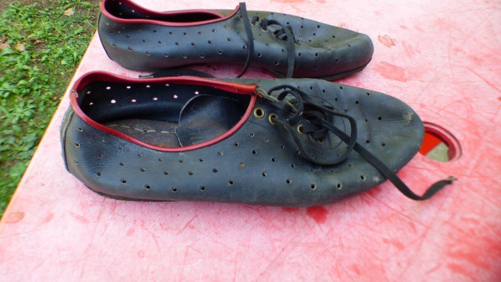 Zapatos para bici vintage Milano de cuero negro T 40