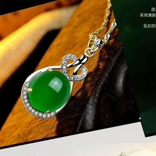 Woman Natural Emerald & Diamond Wedding Pendant Green Silver Give mom gift