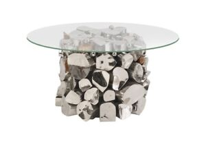 Stone Base Coffee Table.22 Wide Accent Table Stainless Steel Copper Stone Base With Glass