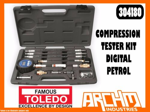 TOLEDO 304180 COMPRESSION TESTER KIT DIGITAL PETROL ENGINES SPARK PLUGS