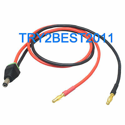 4mm Banana bullet plug to 5.5 x 2.1mm Male DC Power 14AWG 50CM Wire for CCTV