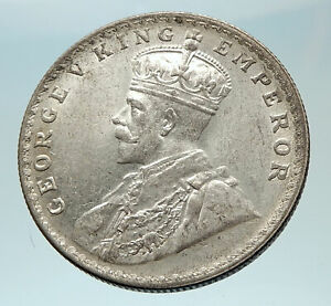 1916-INDIA-UK-King-George-V-Silver-Antique-RUPEE-Vintage-Indian-Coin-i76552