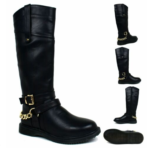 Ladies New Stunning Cain Buckle Flat High Knee Casual//Formal Women Boots UK Size